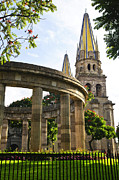 Steeple Photos - Rotunda of Illustrious Jalisciences and Guadalajara Cathedral by Elena Elisseeva