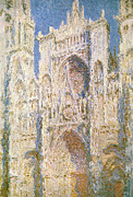 Church Architecture Posters - Rouen Cathedral Poster by Claude Monet