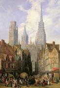Church Architecture Posters - Rouen Cathedral Poster by Lewis John Wood