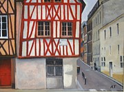 Streetscape Paintings - Rouen Street Corner by Alan Thomas