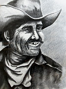 Weathered Drawings Framed Prints - Rough Cowboy Framed Print by Lonnie Tapia