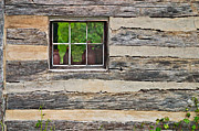 Cabin Window Digital Art Framed Prints - Rough Hewn Wall and Window Framed Print by Peter J Sucy