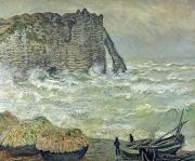 Fishing Painting Posters - Rough Sea at Etretat Poster by Claude Monet
