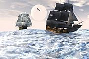 Tall Ship Art - Rough seas by Claude McCoy