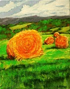 Bale Painting Metal Prints - Round Bales On The Hillside Metal Print by Heather  Gillmer