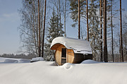 Baltic Prints - Round Barrel Sauna in the Snow Print by Jaak Nilson