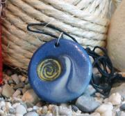 Unique Art Jewelry Prints - Round Blue Pendant with Spiral Print by Chara Giakoumaki