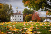 Counties Framed Prints - Round Church in Autumn Framed Print by Susan Cole Kelly