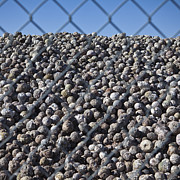 Geode Acrylic Prints - Round Geode Rocks Behind a Chain Link Fence Acrylic Print by Paul Edmondson
