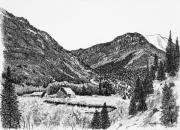San Juan Drawings - Round Mountain by Judy Sprague