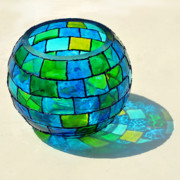Colorful  Glass Art - Round N Round by Farah Faizal