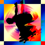 Figures Silhouettes Young Sport Grunge Athletes Prints - Round Peg in Square Hole Skateboarder Print by Elaine Plesser