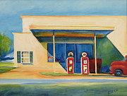 Pumps Painting Prints - Round Rock Gas Station Print by Janet Oh