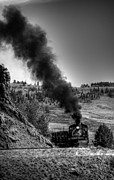 Steam And More Photography Framed Prints - Round the Bend Black and White Framed Print by Ken Smith