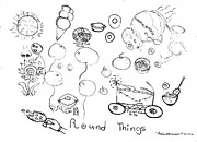 Things Drawings - Round Things Abstracts and Symbols Drawing by Thelma Harcum