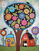 Folk Art Abstract Prints - Round Tree Print by Karla Gerard