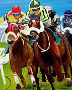 Horse Racing Paintings - Rounding The Bend by Michael Lee