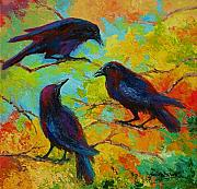 Birds Painting Acrylic Prints - Roundtable Discussion - Crows Acrylic Print by Marion Rose