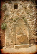 Provence Village Prints - Roussillon Fountain Print by Carla Parris