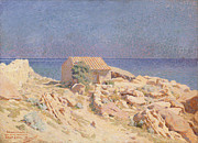 Rocks Painting Framed Prints - Roussillon Landscape Framed Print by Georges Daniel de Monfreid