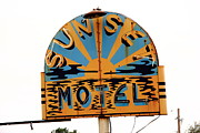 Sunset Posters Framed Prints - Route 66 - Sunset Motel Framed Print by Frank Romeo