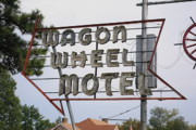 Marquee Framed Prints - Route 66 - Wagon Wheel Motel Framed Print by Frank Romeo