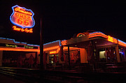 Pinstriping Photos - Route 66 At Night by Bob Christopher