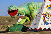 Dinosaurs Art - Route 66 Can Be Brutal by Mike McGlothlen