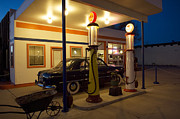 Pinstriping Photos - Route 66 Garage At Night by Bob Christopher