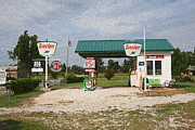 Gary Posters - Route 66 Gas Station with Sponge Painting Effect Poster by Frank Romeo