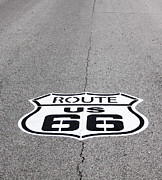Black_and_white Posters - Route 66 Poster by Gayle Johnson