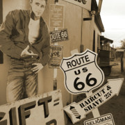 Signs Mixed Media Prints - Route 66 Print by Mike McGlothlen
