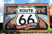 Mural Photos - Route 66 Mural, Route 66 Hall Of Fame Museum, Pontiac, Illinois, Usa by Bruce Leighty
