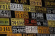 Tags Prints - Route 66 Oklahoma Car Tags Print by Susanne Van Hulst