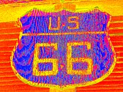 Highway Signs Framed Prints - Route 66 Painted 2 Framed Print by Randall Weidner