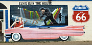 Americas Highway Prints - Route 66 Pink Cadillac 1 Print by Bob Christopher