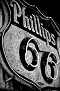 Route 66 Sign Black And White Print by Hideaki Sakurai