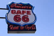 Wurlitzer Photos - Route 66 Sign Cruisers Cafe by Bob Christopher