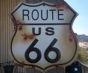 Road Sign Paintings - Route 66 Sign by Randall Weidner