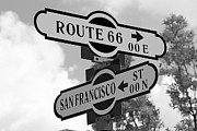 Denton Prints - Route 66 Street Sign Black And White Print by Phyllis Denton