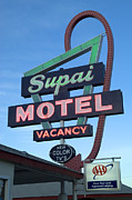 Flames Posters - Route 66 Supai Motel Poster by Bob Christopher