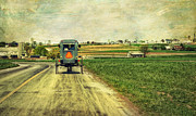 Amish Buggy Photos - Route 716 by Kathy Jennings