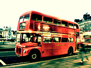 Bus Photos - Routemaster retro pop art  by Jasna Buncic