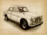 Drawing Digital Art Prints - Rover P5 1968 Print by Michael Tompsett