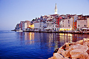 Cafes Prints - Rovinj Seaside Scene in Croatia Print by Madeline Ellis
