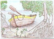 Row Boat Drawings Prints - Row Boat In The Mangroves Print by Desley Brkic