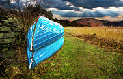 Sky Light Posters - Row Boats In Waiting Poster by Meirion Matthias