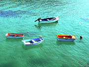 Row Boats On Turquoise Water Print by Leniners