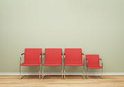 Office Chair Prints - Row Of Chairs In A Room With One Smaller Print by Jon Boyes