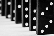 Dominoes Photos - Row Of Dominoes by Joe Fox